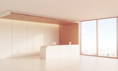 Side view of sunlit reception desk with window