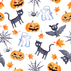 Halloween seamless pattern - pumpkin, bat, ghost, black cat. Watercolor