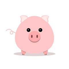 Pink pig icon in flat design. Vector illustration.