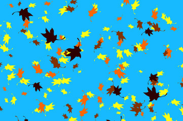 Flying autumnal leaves