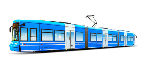 Modern city tram isolated on white