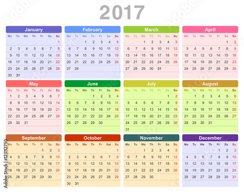 """2017 year annual calendar (Monday first, English)"""" Stock image and ..."""