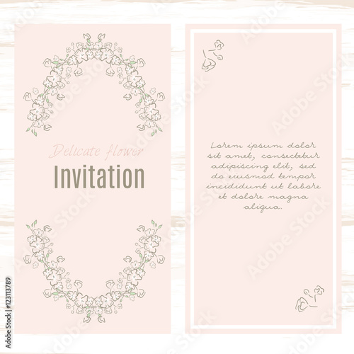 Greeting Card Template Floral Background. Design Stationery Set In Vector  Format. Wedding Card Or  Greeting Card Format