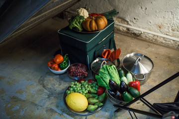 Tasty vegetables lie on the stone floor