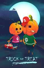 Halloween funny boys with the pumpkin heads.Trick-or-Treat vector illustration. Vector EPS10