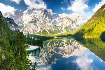 Foto auf Acrylglas Reflexion Lake Braies also known as Lago di Braies. The lake is surrounded by the mountains which are reflected in the water.1st point of the trekking route Alta Via 1, The Dolomites, Alps, South Tyrol, Italy.