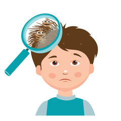 Boy With Lice. Magnifying Glass Close Up Of A Head. Vector Illustration. Dirty Head. Dirty Hair. Infection. Head Lice On The Head. Poor Child, Mud. Hygiene Promotion, Poverty, Asocial.