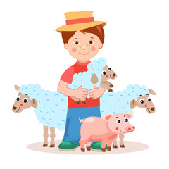Young farmer with lamb in the hands and farm animals - pig, sheep. Cartoon vector illustration on a white background. Young farmer gifts. Successful farmer. Farm Animals For Sale. Farm Animals Toys.