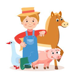 Young Farmer With Farm Animals: Horse, Pig, Goose. Cartoon Vector Illustration On A White Background. Farm Animals For Sale. Farm Animals Toys. Farm Animals For Kids. Farm Animals Coloring.