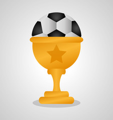 Ball and trophy icon. Soccer sport competition game and hobby theme. Colorful design. Vector illustration