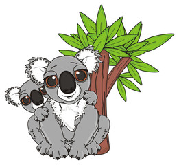 tree, eucalyptus, two, kids, mother, cartoon, gray, animal, bear, koala, australia, zoo, nature, wild, marsupial, toy, sit
