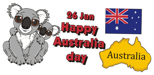 flag, country, national, Australian, two, kids, mother, name, inscription, cartoon, gray, animal, bear, koala, australia, zoo, nature, wild, marsupial, toy,