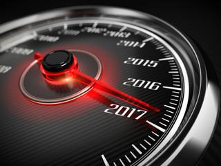 2017 year car speedometer concept. 3d render