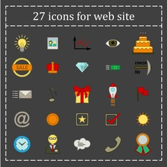 a set of 27 icons, badges, symbols, logos for the Web site.