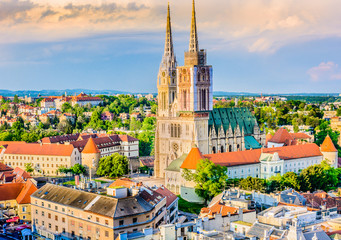 Zagreb cathedral aerial view. / Aerial view on cathedral in Zagreb city, capital town of Croatia, european landmarks. Wall mural