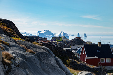The Beauty of colonial houses and the icefjord in Ilulissat, Greenland