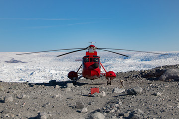 Helicopter at the Glacier Sermeq Kujalleq