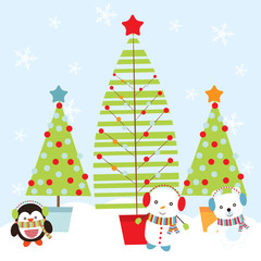 Christmas illustration with cute penguin, snowman, and polar bear with Xmas tree suitable for Xmas greeting card, wallpaper, and postcard