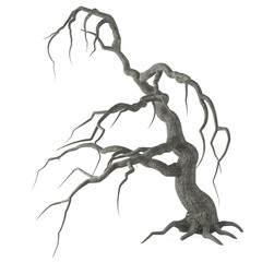 Scary dead Halloween tree with long bare branches and roots isolated on white background with clipping path. 3D illustration.