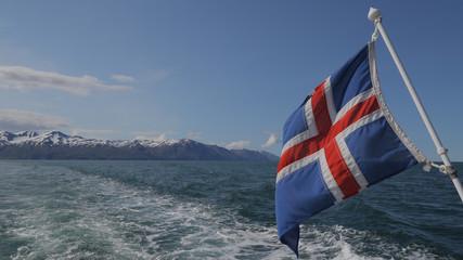 Iceland's flag in Skajalfandi Fjord