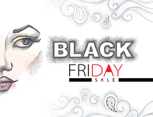 Vector illustration with dotted Black Friday sale text in black and red, swirls and half dotted girl face isolated on white background. Design template for total sale and discount in dotwork style.