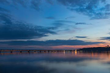 Sunset over Volga River during blue hour in Ulyanovsk