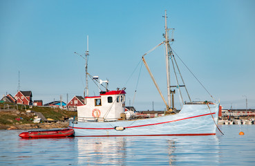 Sweet colorful fisherboat in Greenland