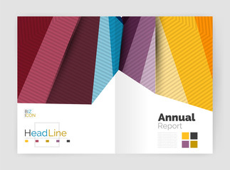 Business abstract geometric financial report brochure template