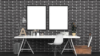 Workshop Interior Mock Up With 2 Frames, Home studio, Contemporary, Black Bricks Wall, Modern Furniture, 3D rendering