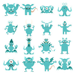 Set of flat moster icons1