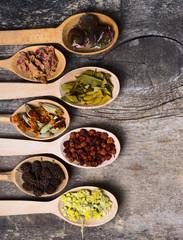 Herbs in wooden spoon