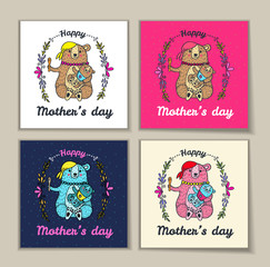 Mother's Day card set with bear characters.