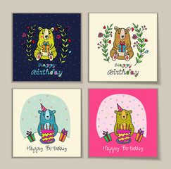 Birthday card with bear characters.