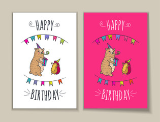 Happy birthday set of card with bear and hedgehog characters.