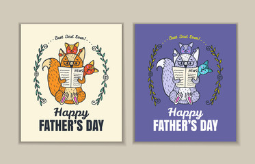 Father's Day card set with fox character family.