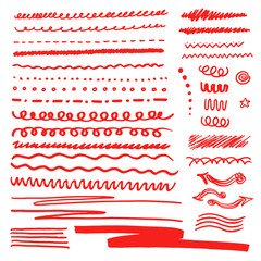 Red Color design elements drawn with japan markers. Vector marker stroke