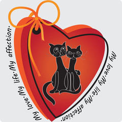 My love. My life.  The cats in hearts on a light background. Composition for decoration of textiles, glassware, covers for phone, gift packages.