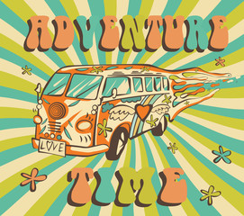 Hippie car, mini van on rays background. Adventure time vector poster. Psychedelic concept.