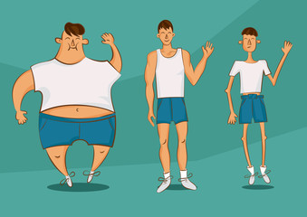 Handsome person in a different forms. Set of cartoon style illustrations. Man with excess weight, in normal shape and with underweight. Vector comic character.