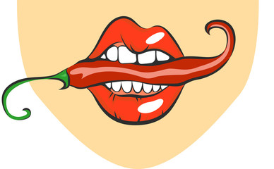 Sexy lips with red hot chili pepper. Pop art mouth biting spice. Close up view of cartoon girl eating flavouring. Vector illustration