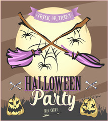 Halloween Party poster with pumpkins and moon with brooms. Vector illustration.
