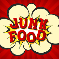 Junk food retro style image. Comic cartoon explosion with hypno rays background. Vector illustration for diet and nutrition, weight loss, health and bad habits articles, banners, posters