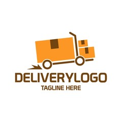Retro illustration of truck and boxes for creating cool badge, logo, stamp for express courier delivery transportation service company