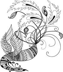 Oriental handdrawn vector phoenix in doodle style