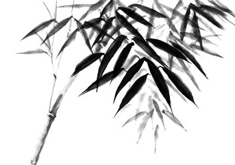 Background with bamboo stems. Ink sketch Wall mural