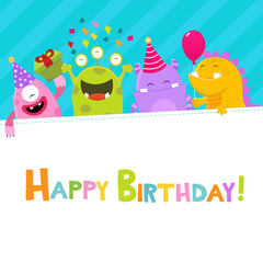 Happy Birthday Monsters Card