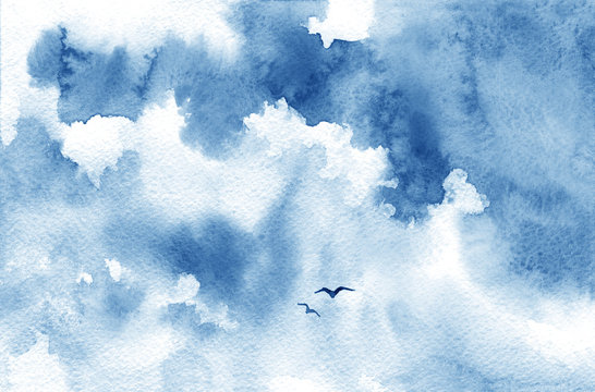 Blue watercolor cloud, birds and sky. Spring, summer background.