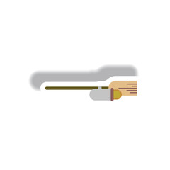 Vector illustration paper sticker Halloween icon broom with jet engine