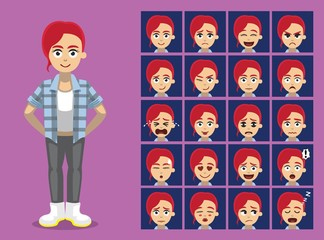Hipster Ginger Girl Cartoon Character Emotion faces Vector Illustration