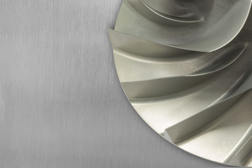 Rotor blade of centrifugal type gas compressor placed on aluminum sheet